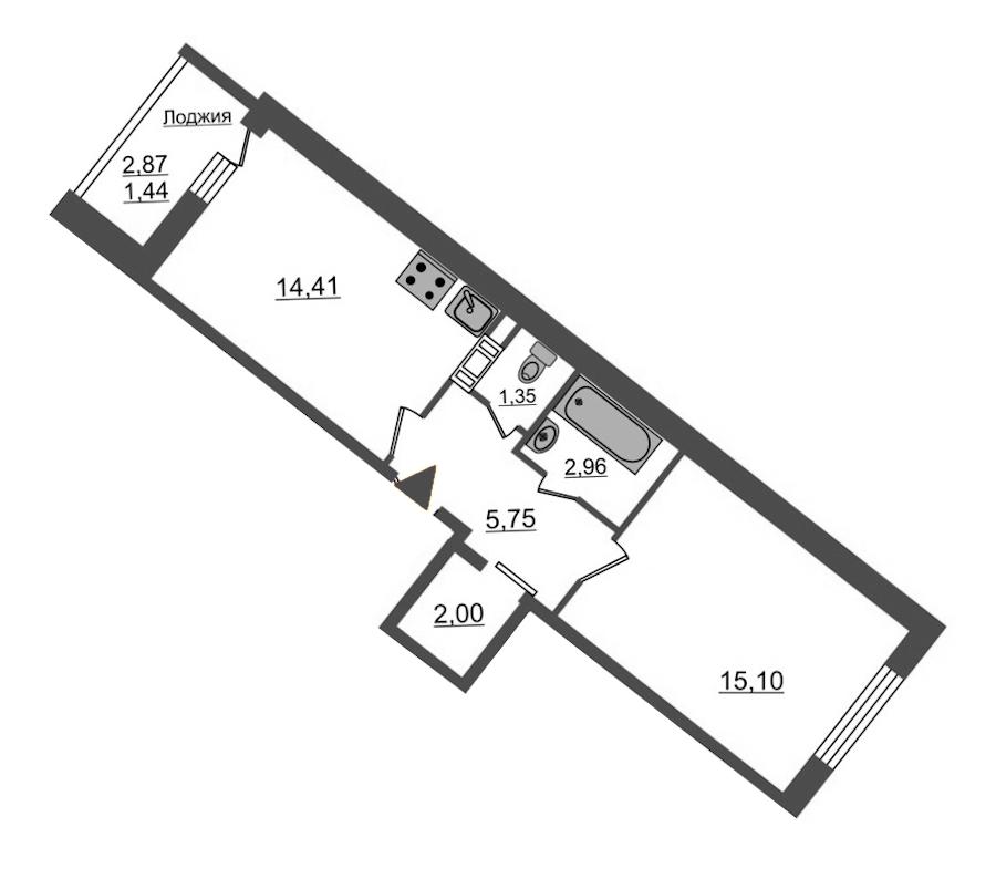 1-комнатная 43 м<sup>2</sup> на 11 этаже