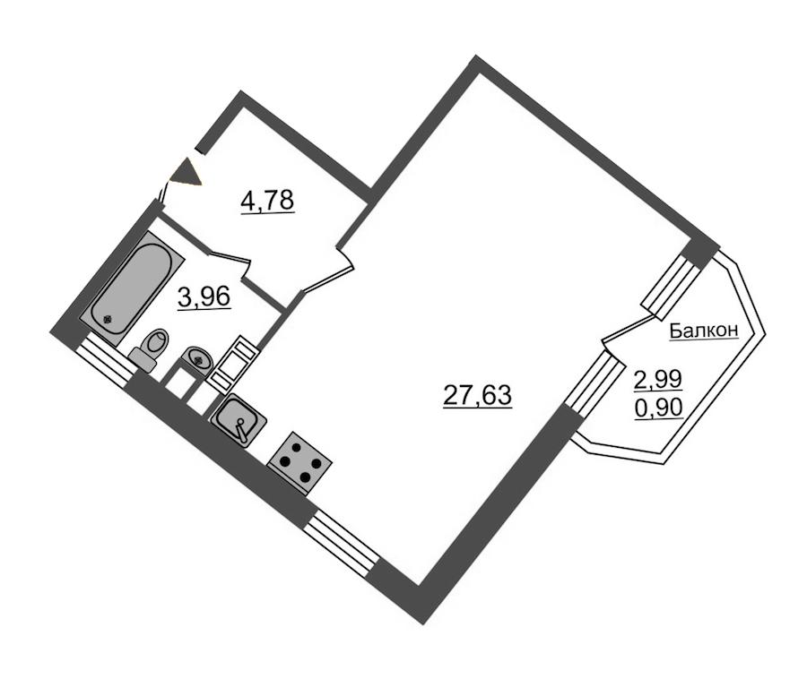 Студия 37 м<sup>2</sup> на 3 этаже