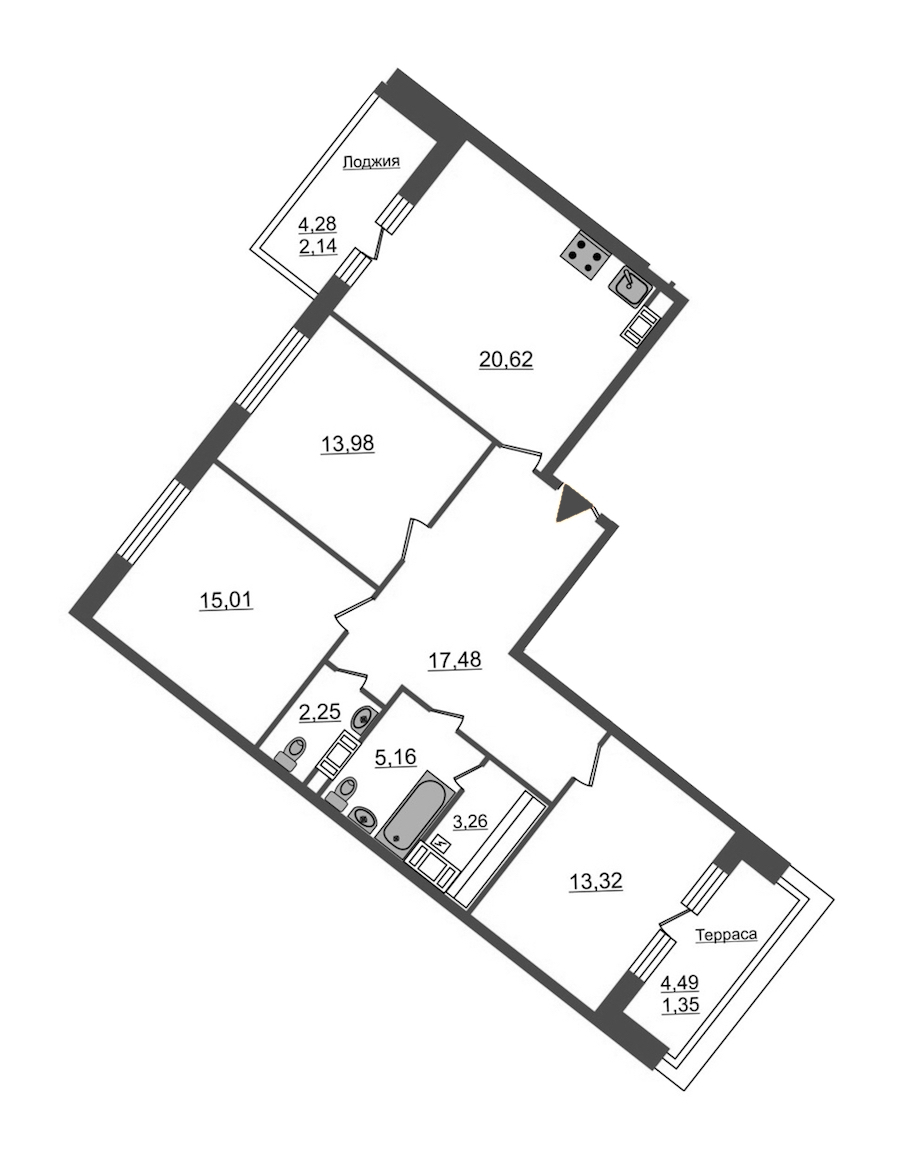 3-комнатная 94 м<sup>2</sup> на 12 этаже