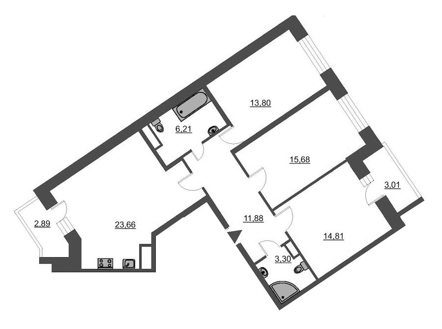 3-комнатная 92 м<sup>2</sup> на 11 этаже