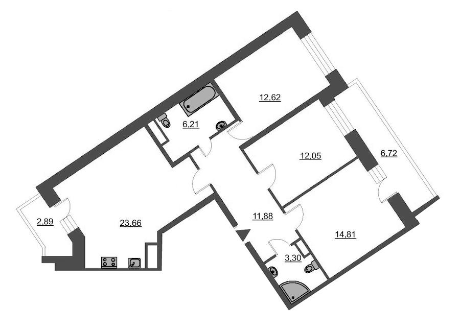 3-комнатная 87 м<sup>2</sup> на 12 этаже