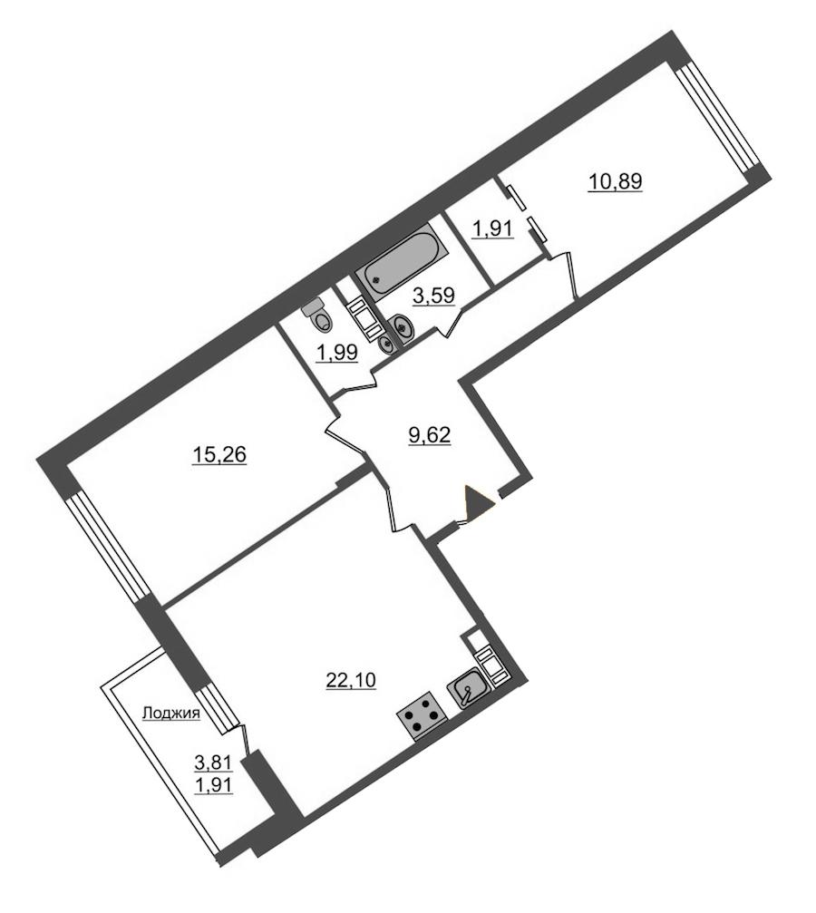 2-комнатная 67 м<sup>2</sup> на 12 этаже