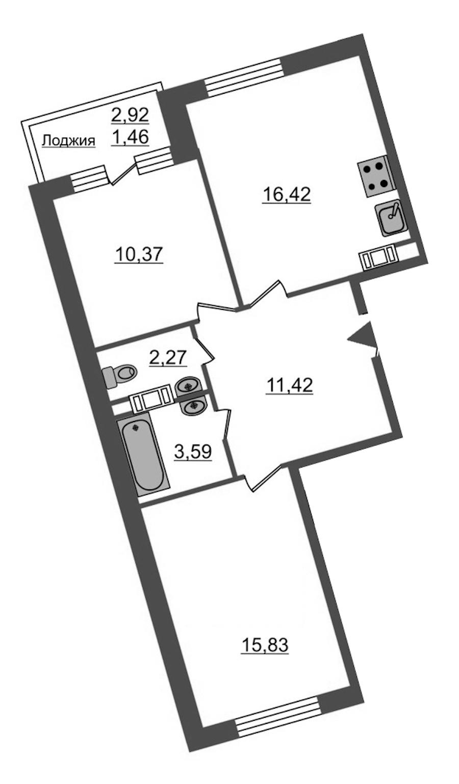 2-комнатная 61 м<sup>2</sup> на 12 этаже