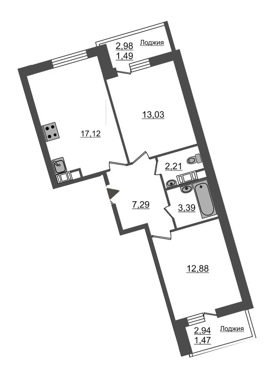 2-комнатная 58 м<sup>2</sup> на 12 этаже