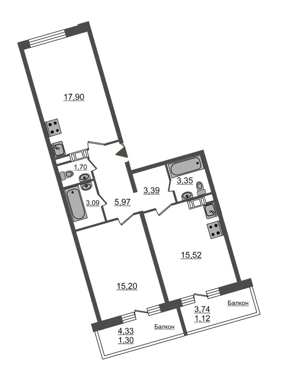 2-комнатная 68 м<sup>2</sup> на 12 этаже