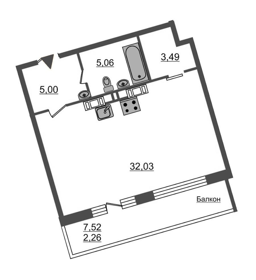 Студия 47 м<sup>2</sup> на 12 этаже