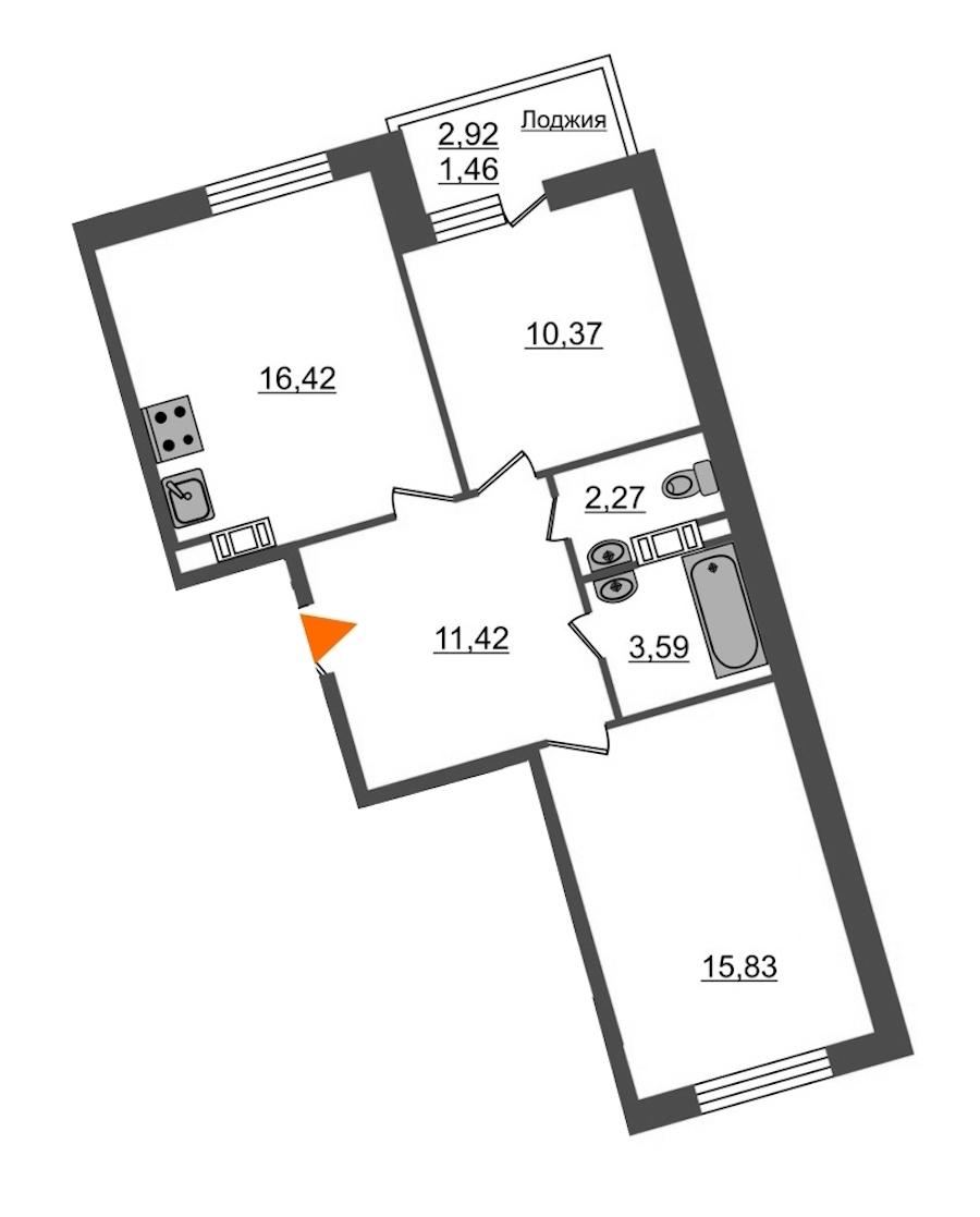 2-комнатная 61 м<sup>2</sup> на 11 этаже