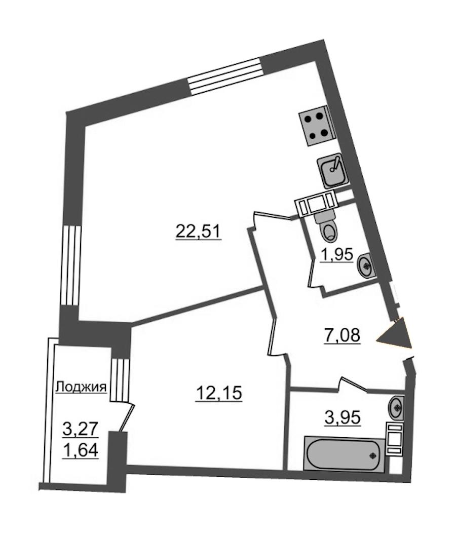 1-комнатная 49 м<sup>2</sup> на 3 этаже