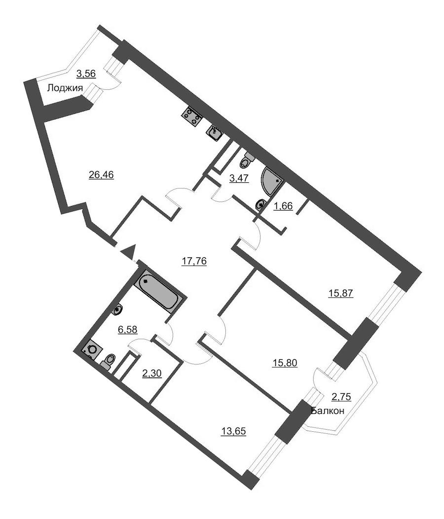 3-комнатная 106 м<sup>2</sup> на 3 этаже