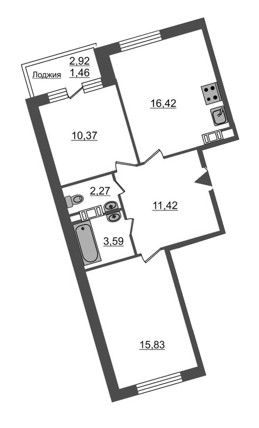 2-комнатная 61 м<sup>2</sup> на 4 этаже