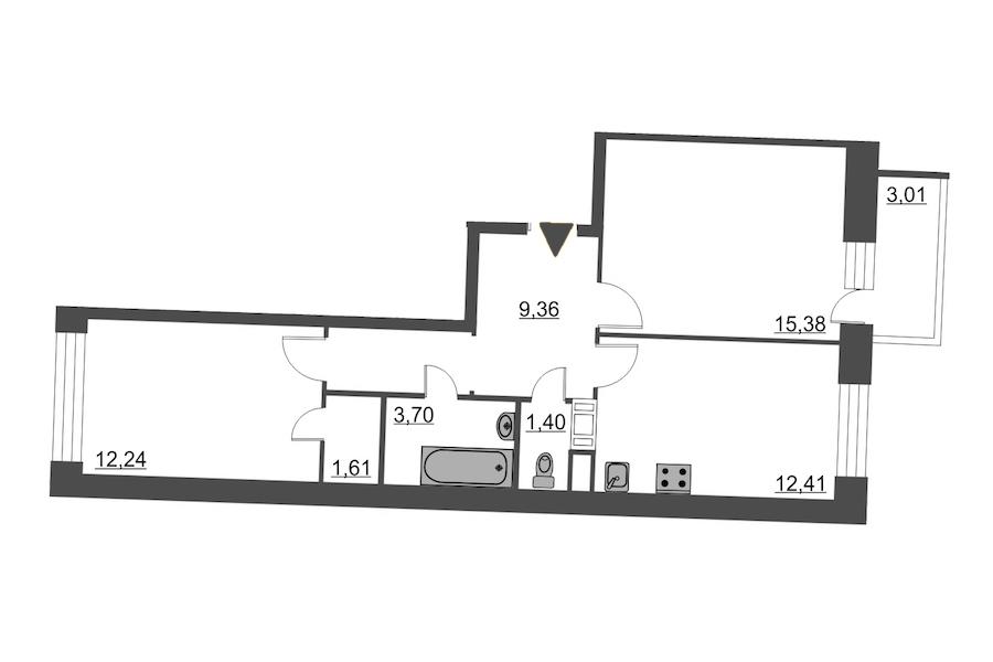 2-комнатная 57 м<sup>2</sup> на 12 этаже