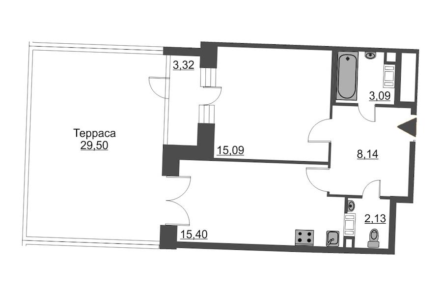 1-комнатная 54 м<sup>2</sup> на 4 этаже