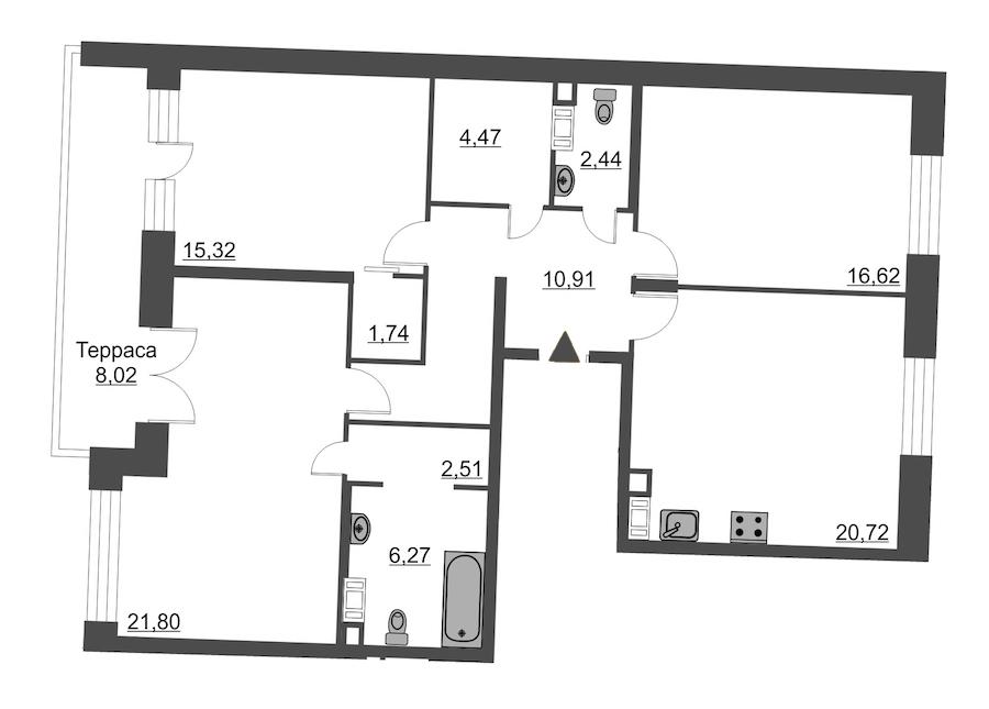 3-комнатная 105 м<sup>2</sup> на 12 этаже