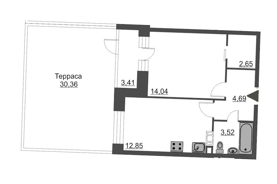 1-комнатная 48 м<sup>2</sup> на 4 этаже