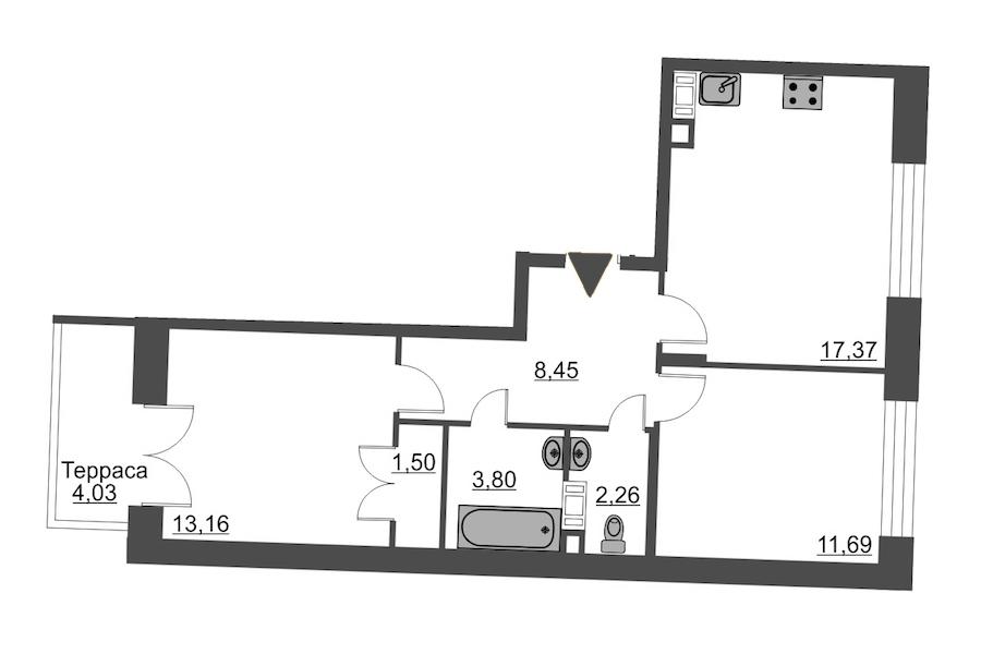 2-комнатная 59 м<sup>2</sup> на 12 этаже