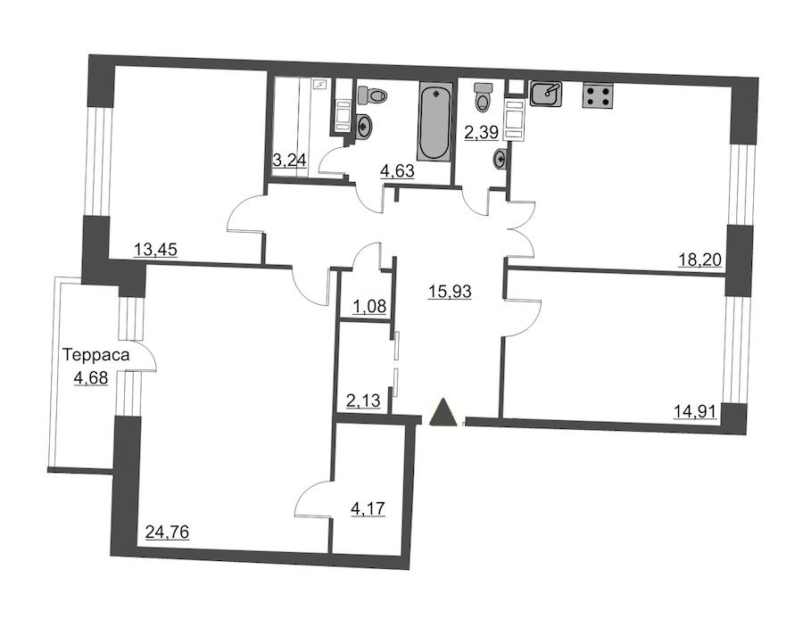 3-комнатная 106 м<sup>2</sup> на 12 этаже