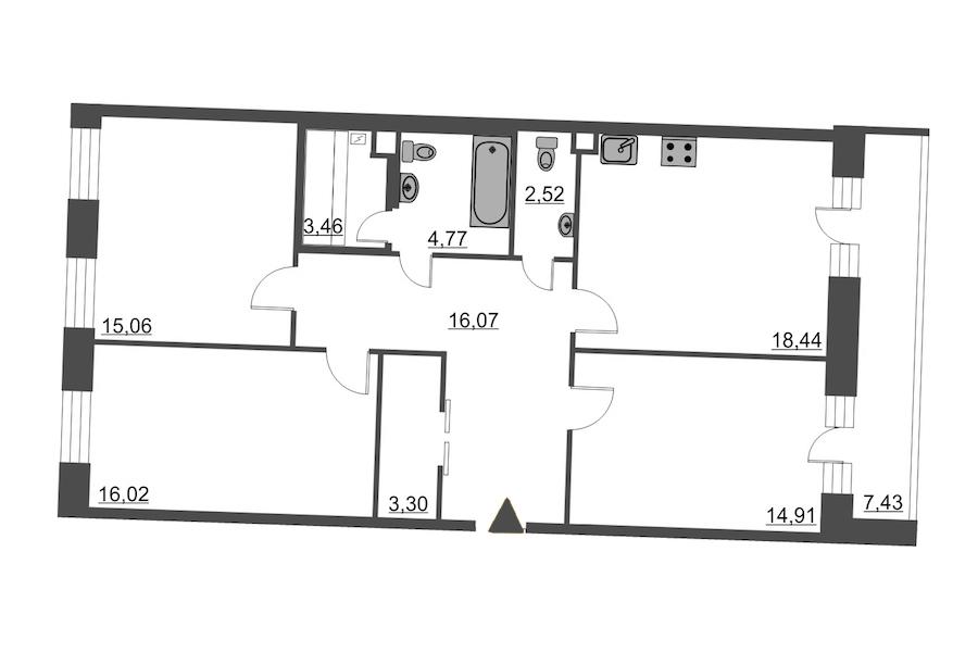 3-комнатная 98 м<sup>2</sup> на 4 этаже