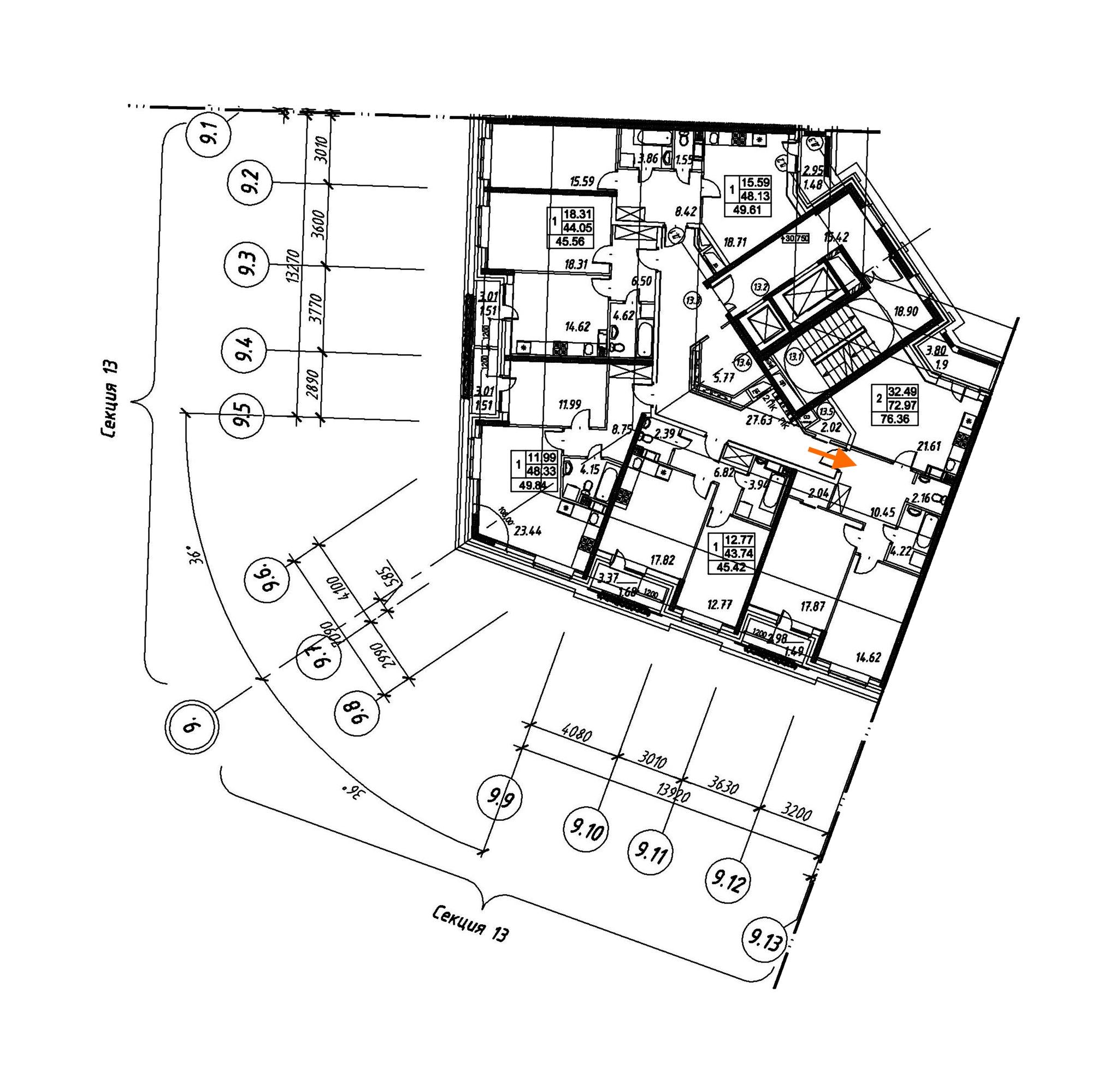 2-комнатная 76 м<sup>2</sup> на 11 этаже
