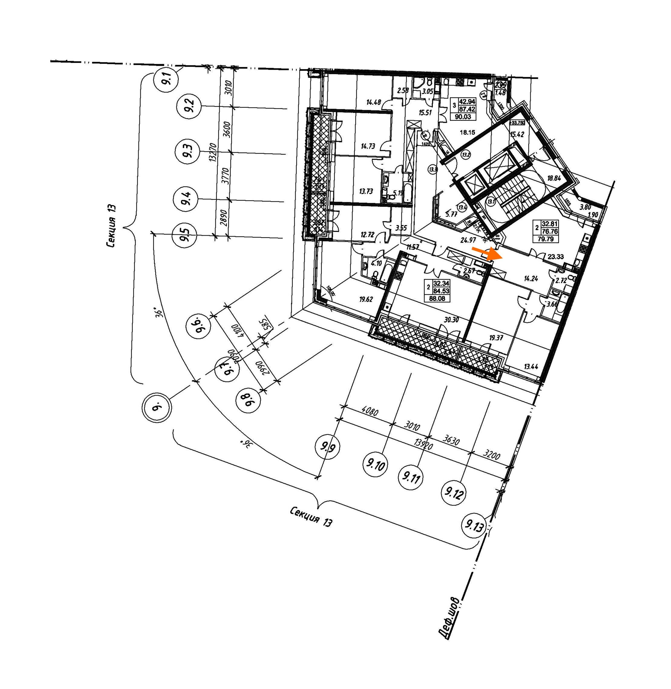 2-комнатная 79 м<sup>2</sup> на 12 этаже
