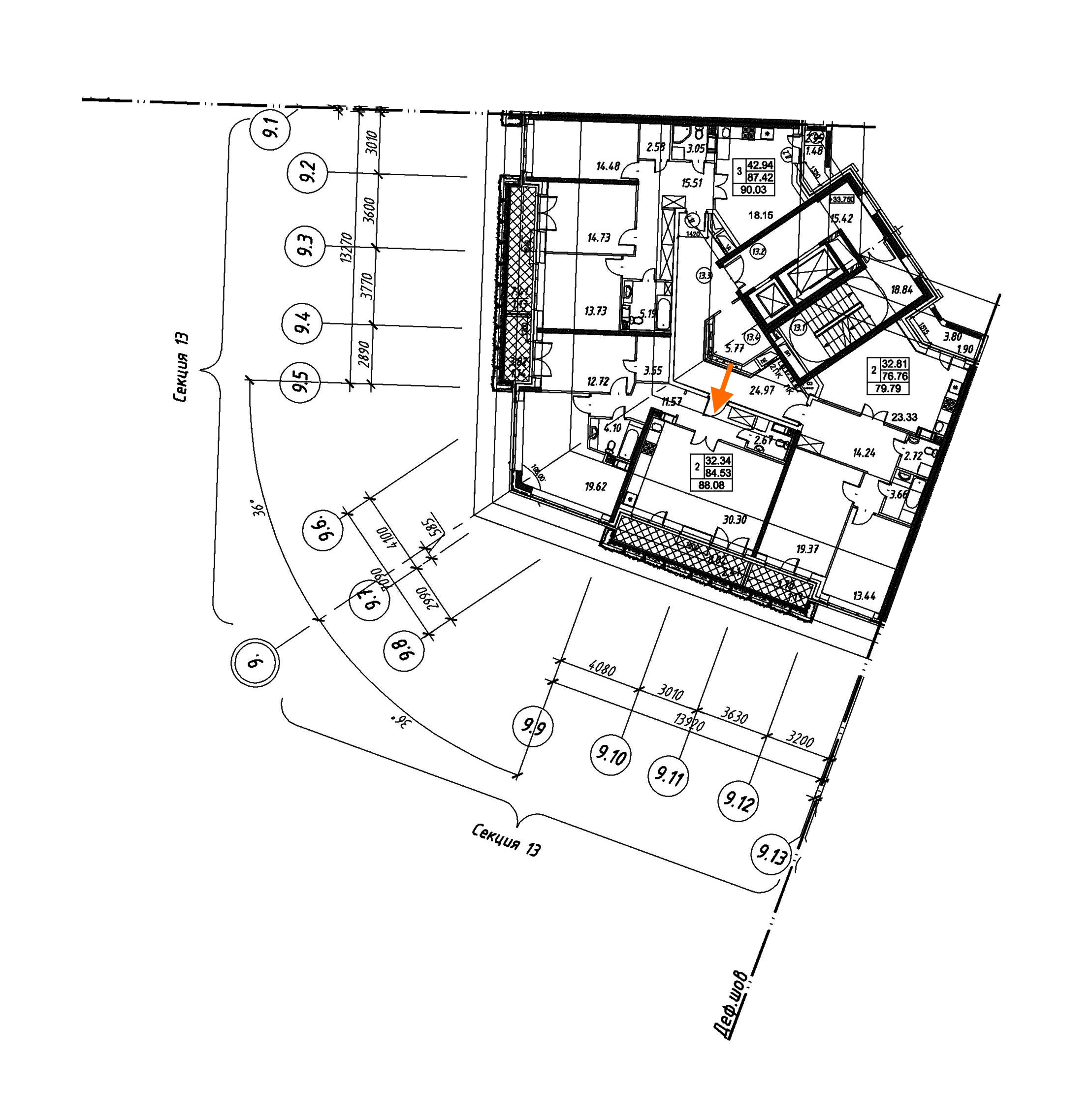 2-комнатная 88 м<sup>2</sup> на 12 этаже