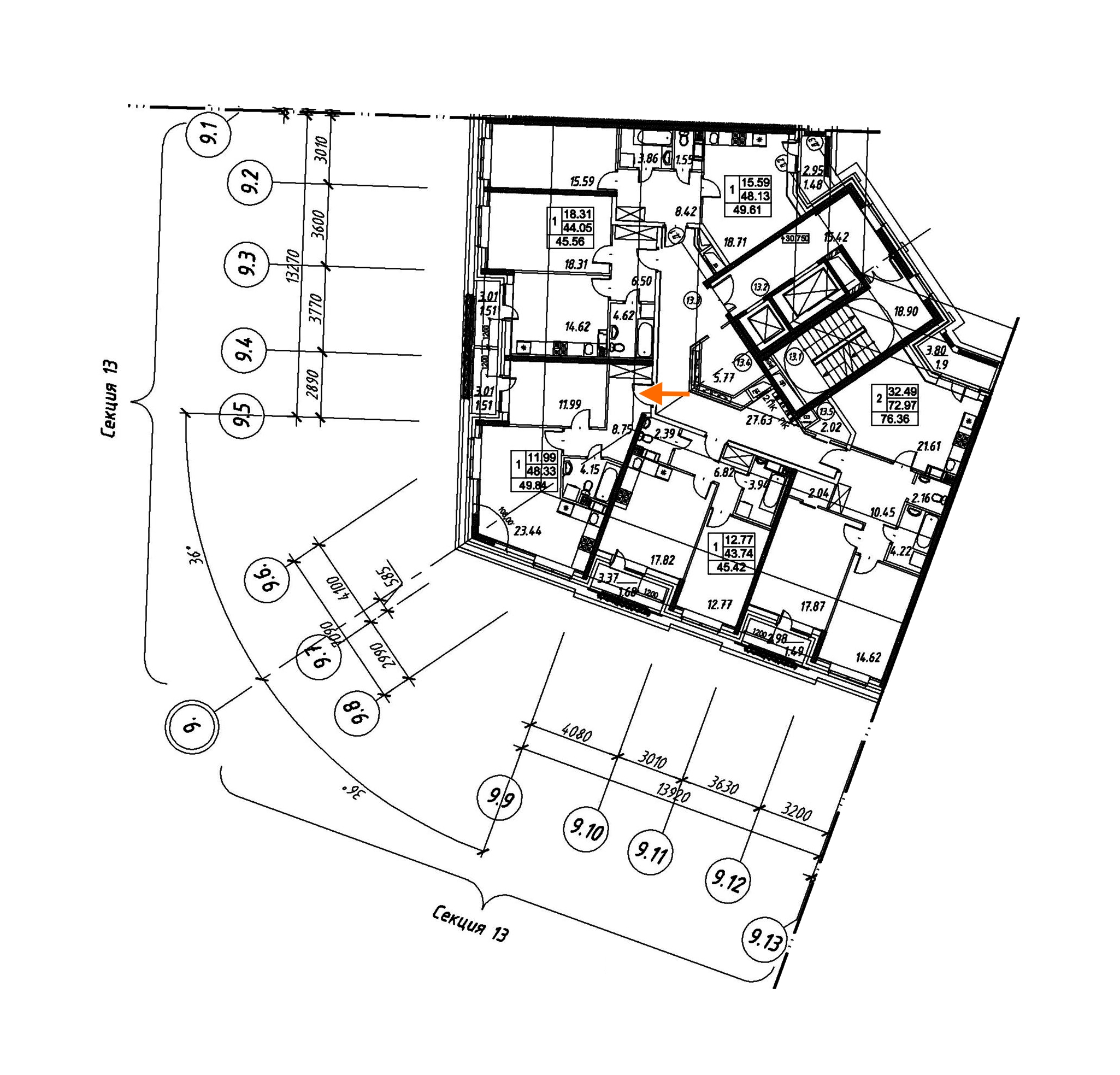 1-комнатная 49 м<sup>2</sup> на 11 этаже