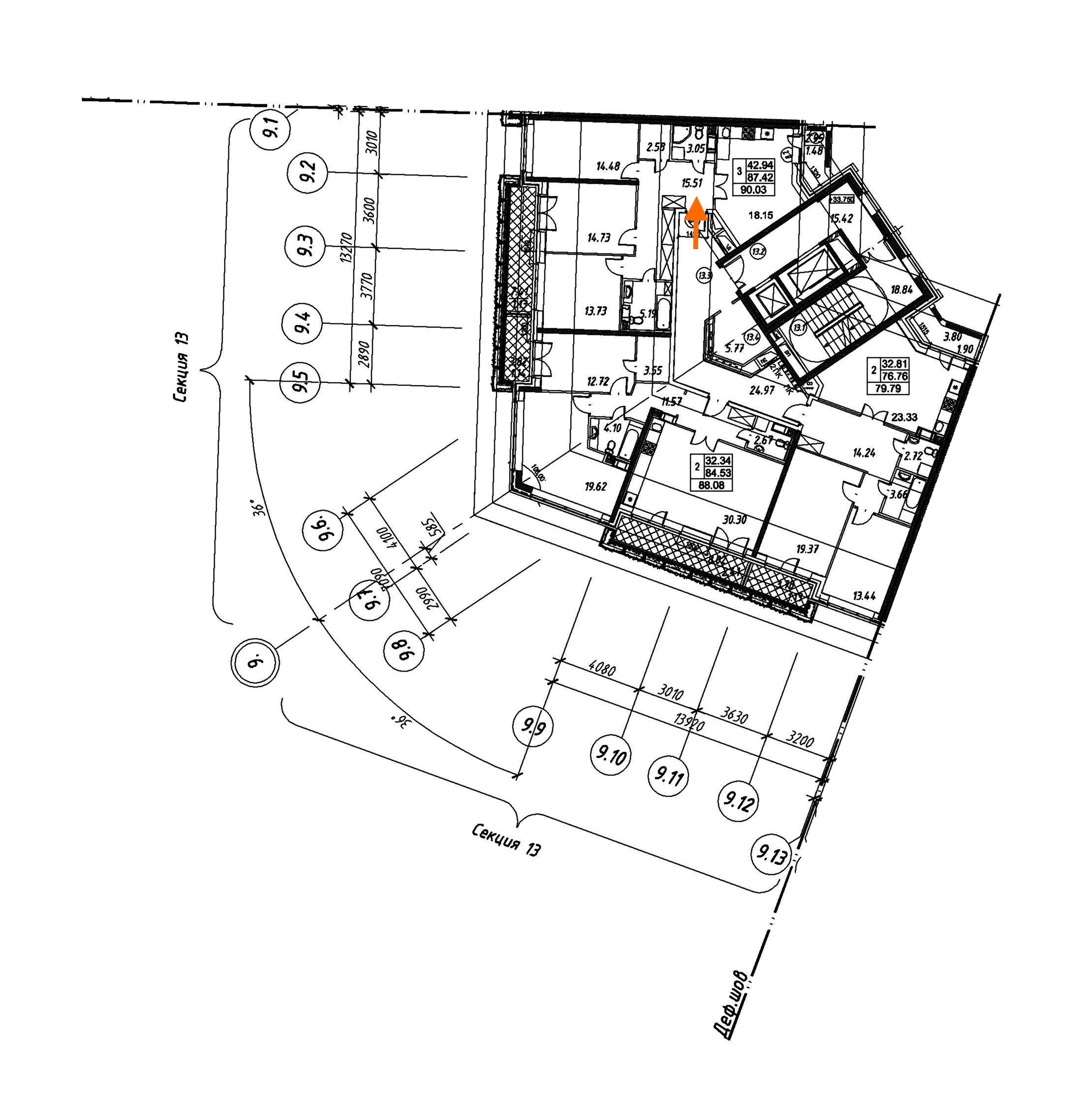 2-комнатная 90 м<sup>2</sup> на 12 этаже