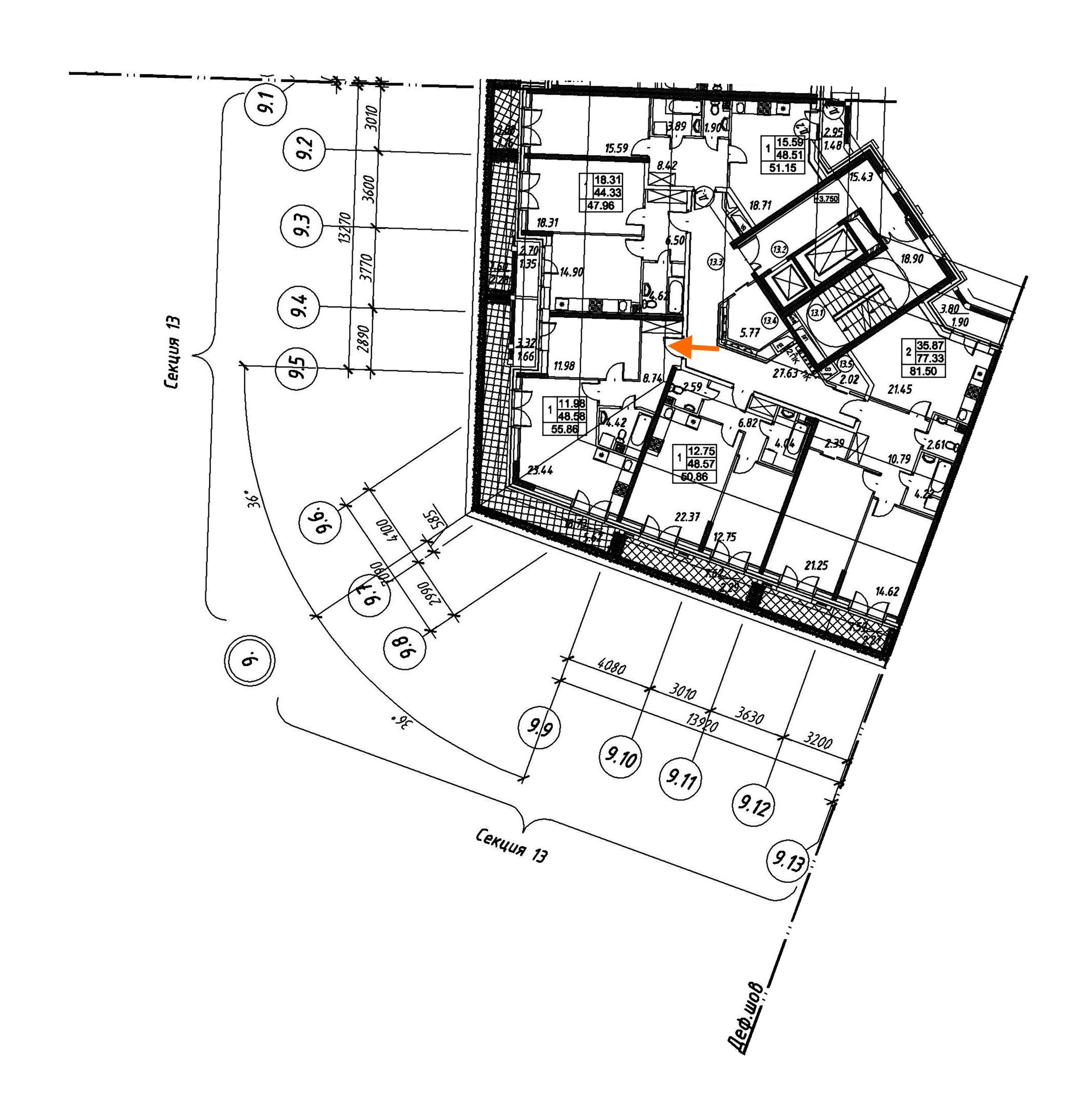 1-комнатная 55 м<sup>2</sup> на 2 этаже
