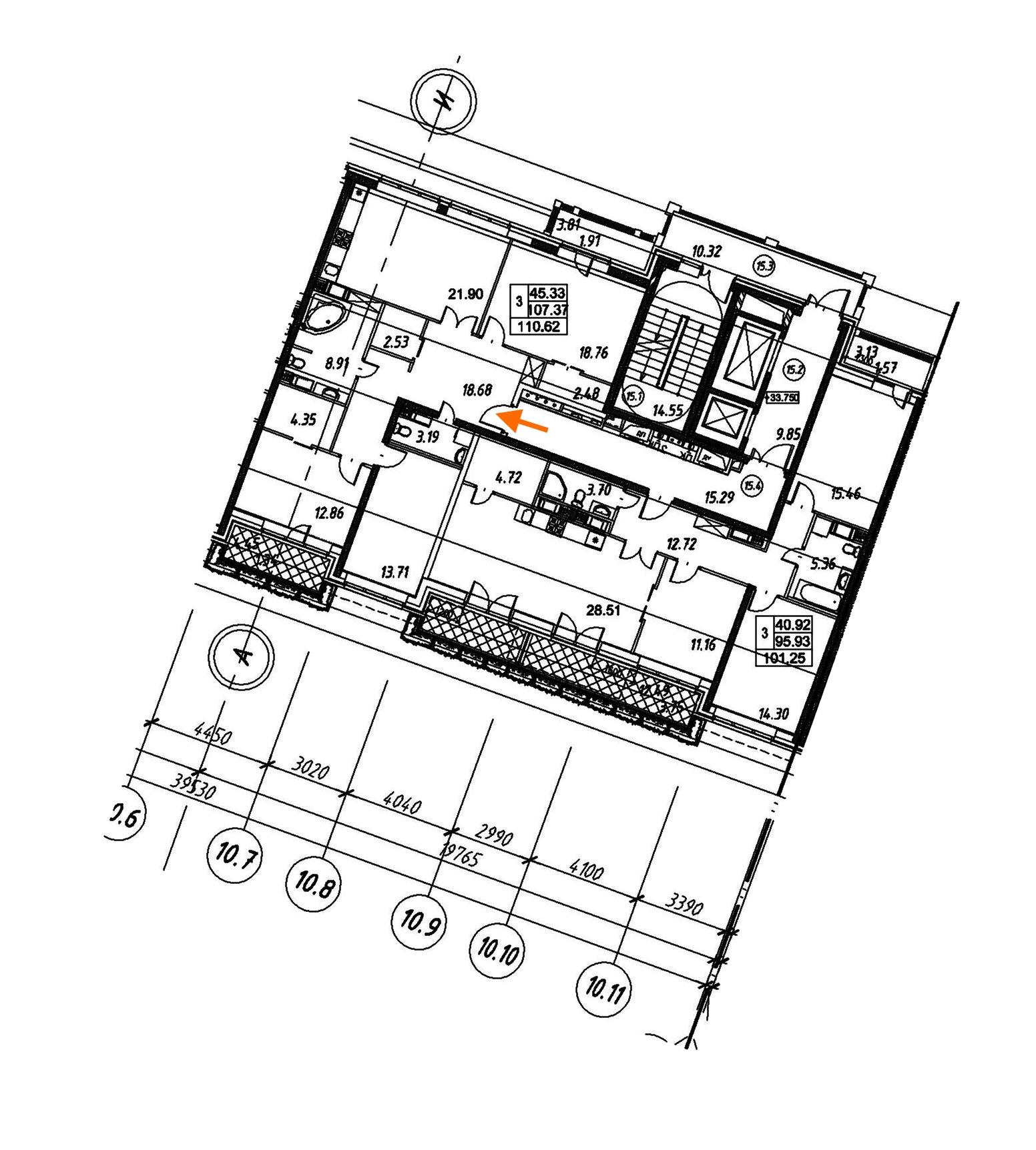 3-комнатная 111 м<sup>2</sup> на 12 этаже