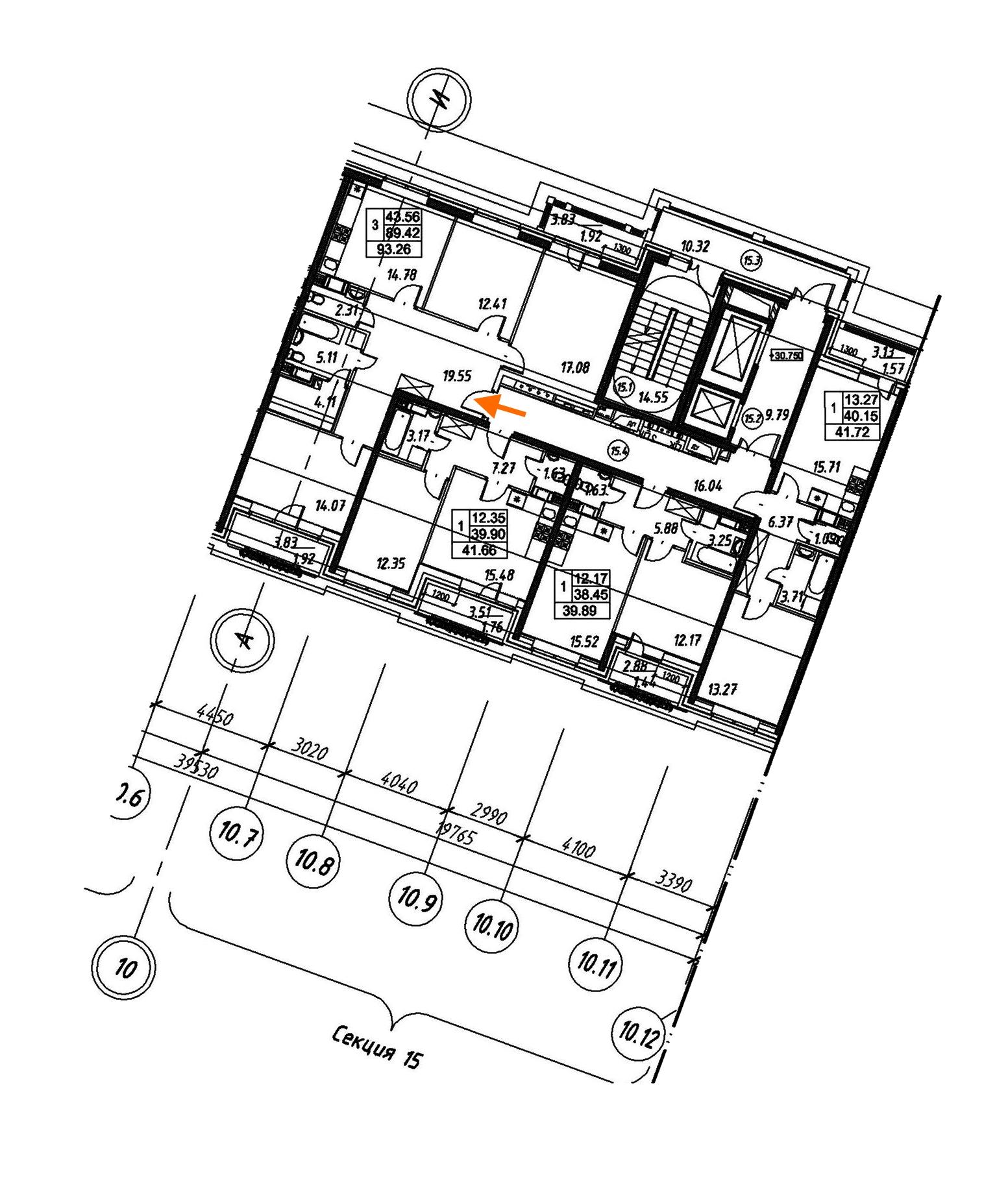 3-комнатная 93 м<sup>2</sup> на 11 этаже