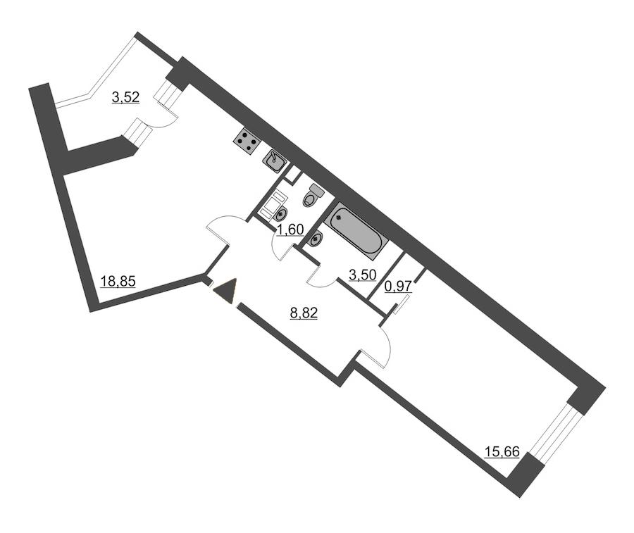1-комнатная 51 м<sup>2</sup> на 11 этаже