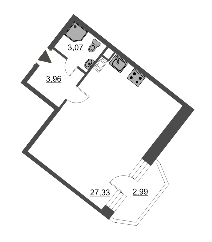 Студия 35 м<sup>2</sup> на 4 этаже