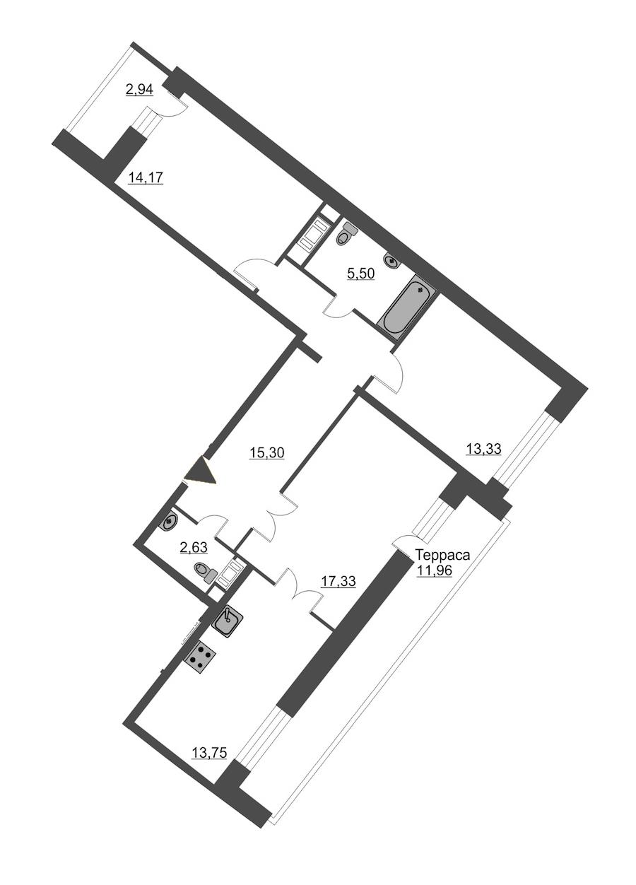 3-комнатная 89 м<sup>2</sup> на 12 этаже