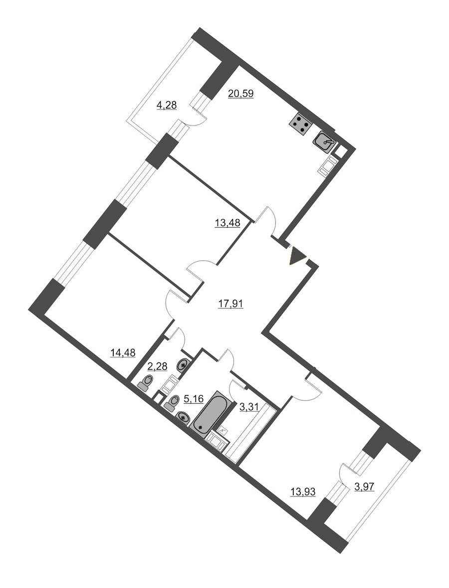 3-комнатная 95 м<sup>2</sup> на 11 этаже