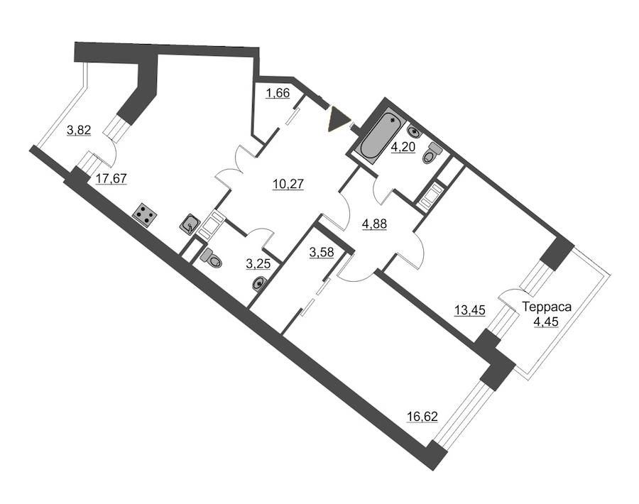 2-комнатная 78 м<sup>2</sup> на 12 этаже