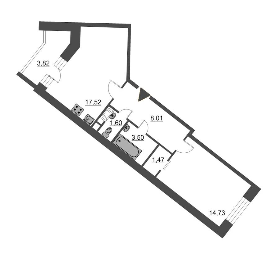 1-комнатная 48 м<sup>2</sup> на 11 этаже