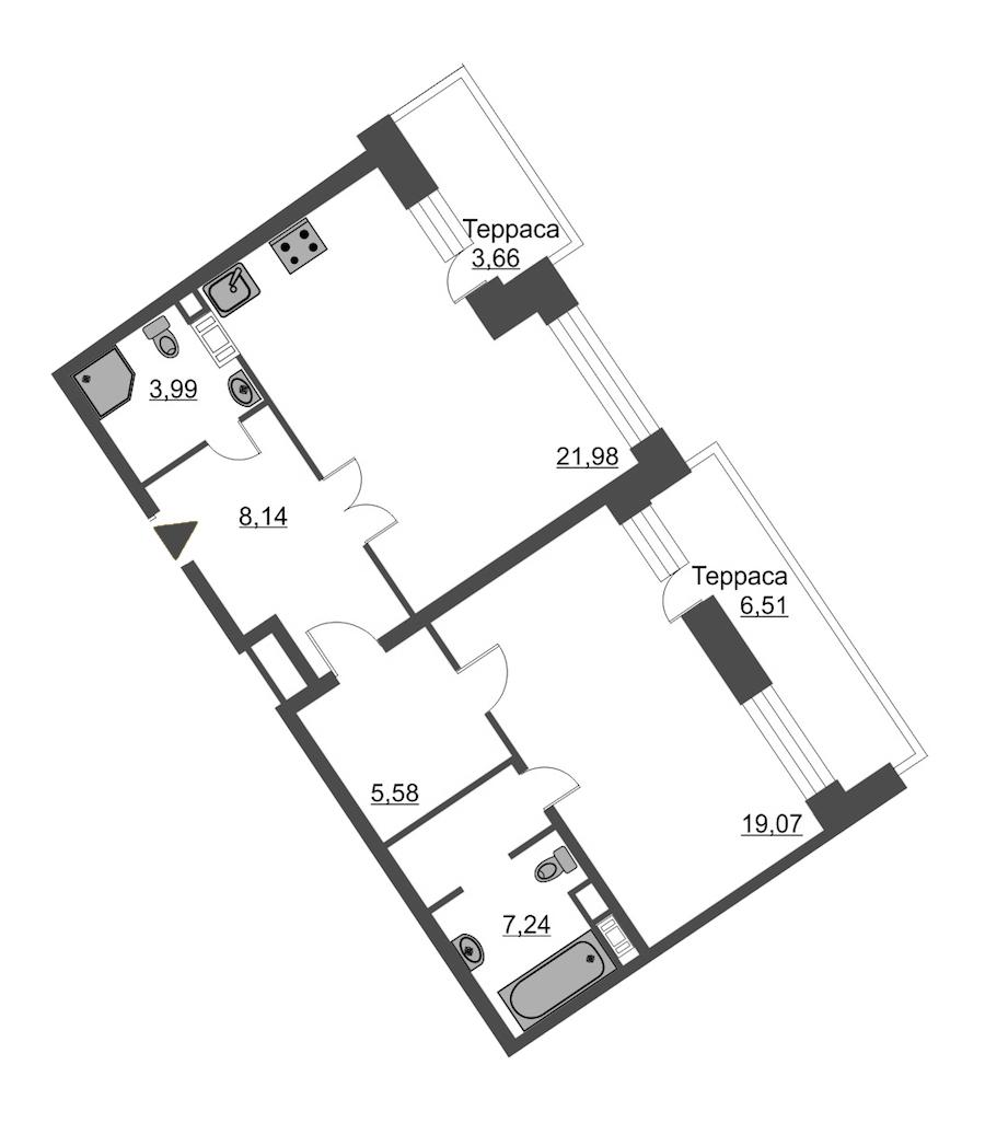 1-комнатная 69 м<sup>2</sup> на 12 этаже