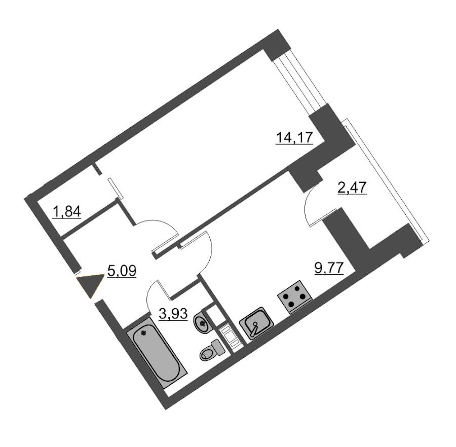 1-комнатная 36 м<sup>2</sup> на 11 этаже