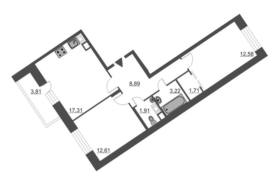 2-комнатная 60 м<sup>2</sup> на 11 этаже