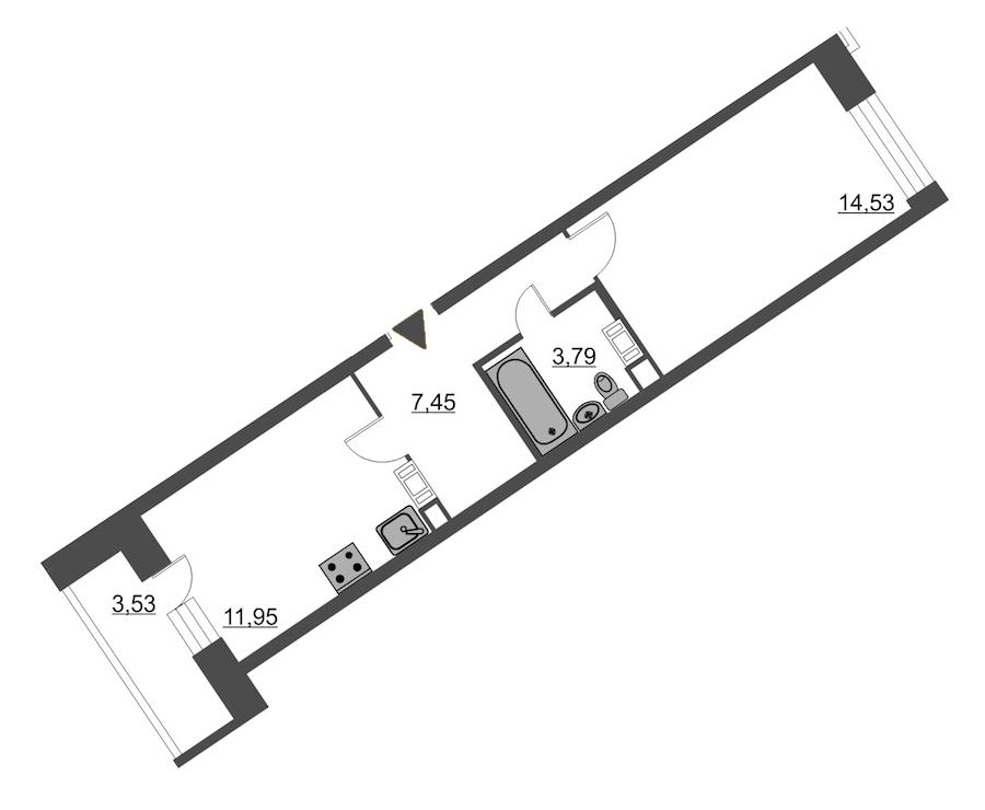 1-комнатная 39 м<sup>2</sup> на 11 этаже