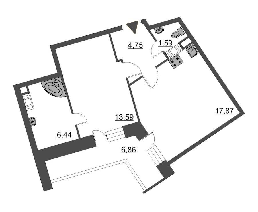 1-комнатная 47 м<sup>2</sup> на 12 этаже