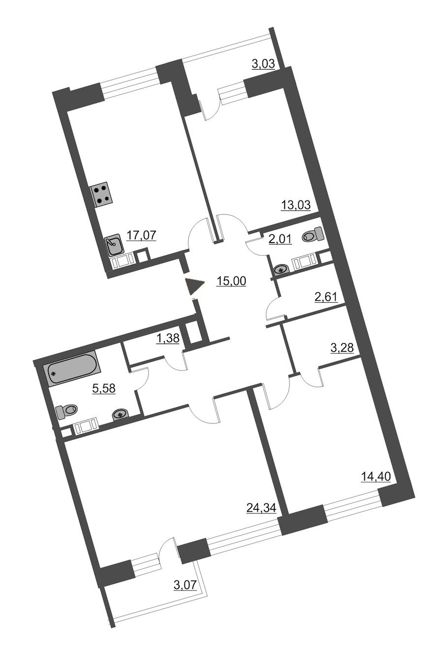 3-комнатная 101 м<sup>2</sup> на 12 этаже