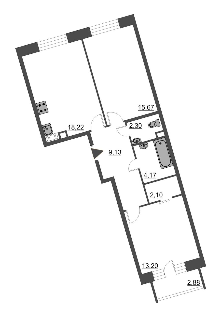2-комнатная 65 м<sup>2</sup> на 4 этаже