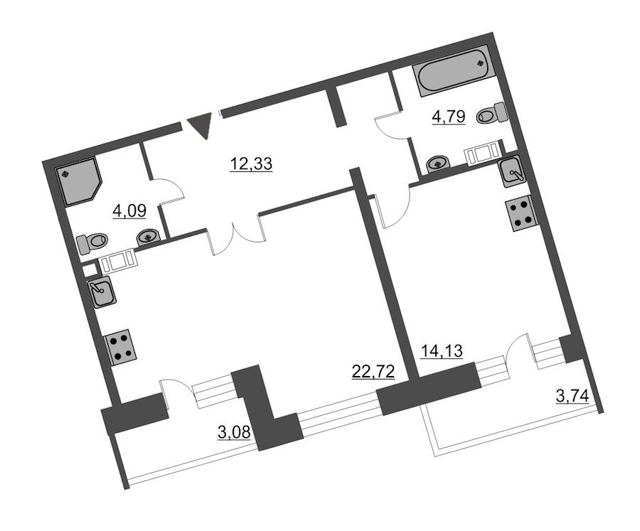 1-комнатная 60 м<sup>2</sup> на 12 этаже
