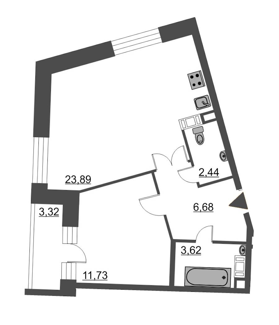 1-комнатная 50 м<sup>2</sup> на 6 этаже