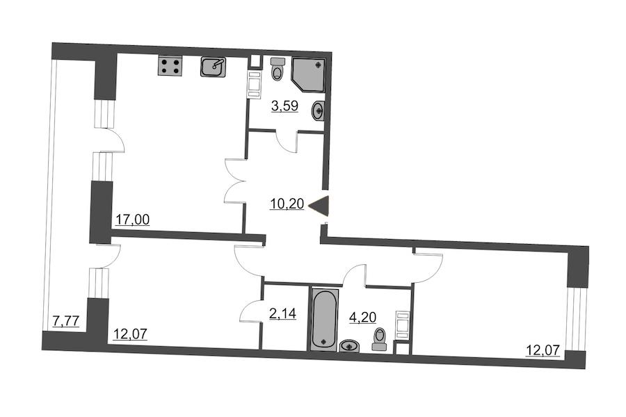 2-комнатная 65 м<sup>2</sup> на 7 этаже