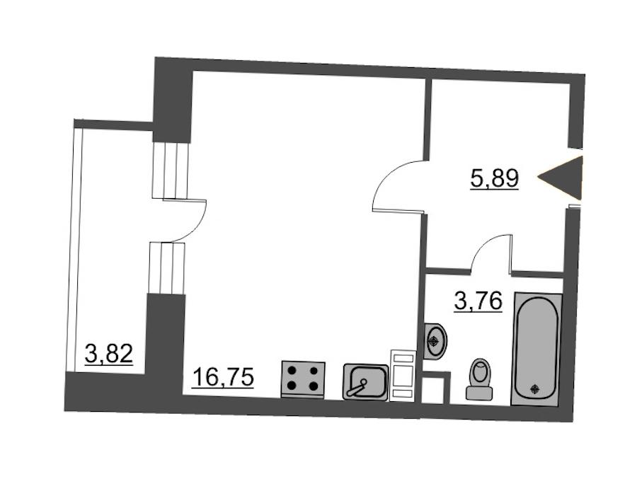 Студия 28 м<sup>2</sup> на 7 этаже