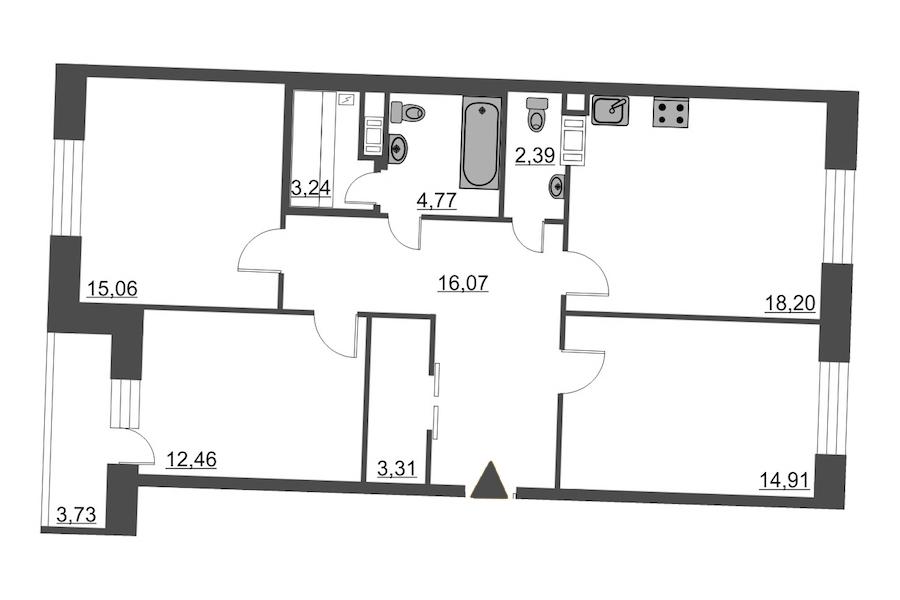 3-комнатная 92 м<sup>2</sup> на 8 этаже