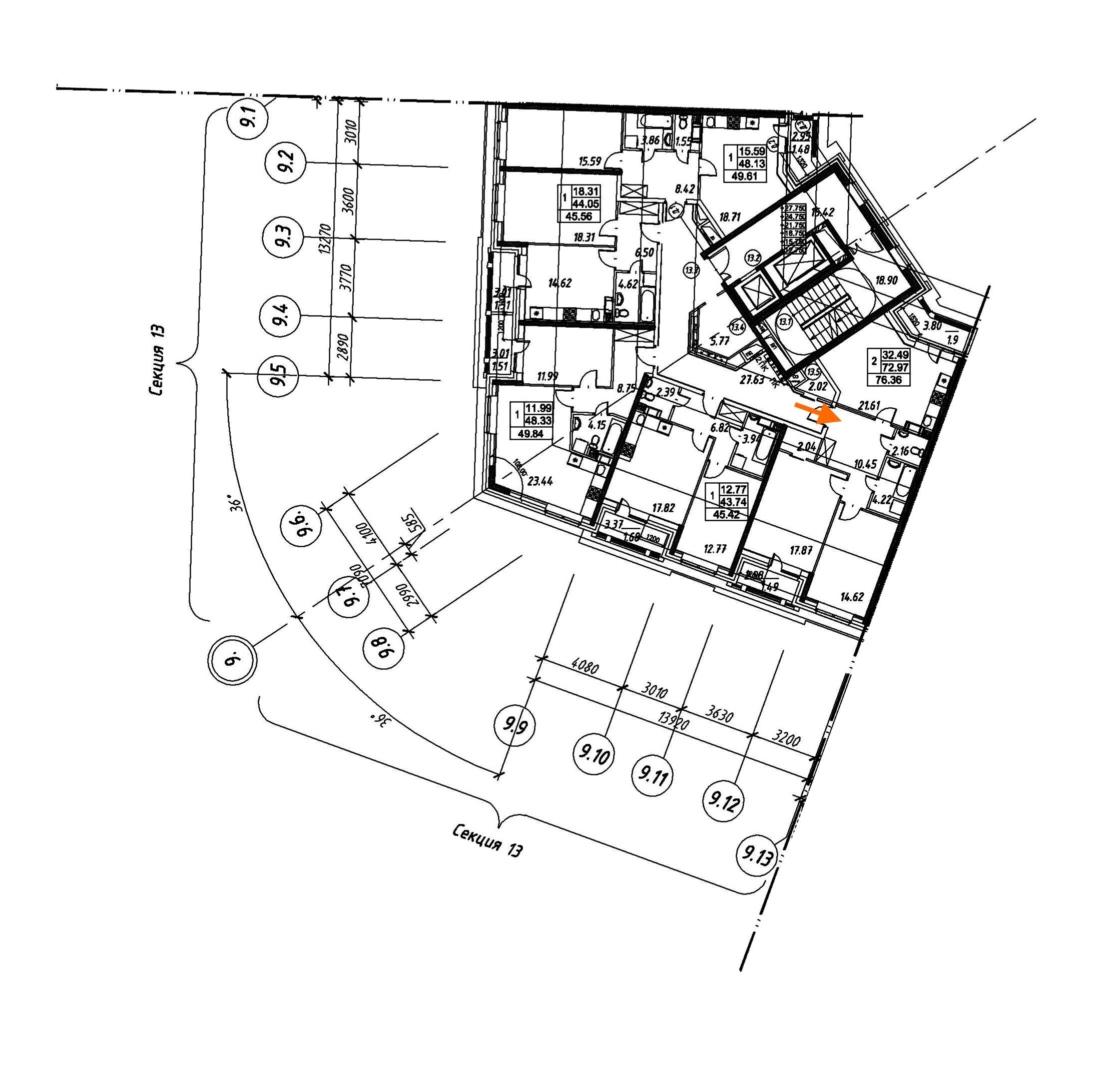2-комнатная 76 м<sup>2</sup> на 6 этаже