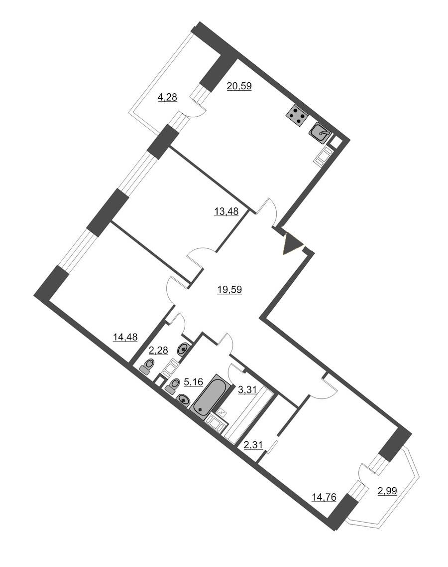 3-комнатная 99 м<sup>2</sup> на 7 этаже