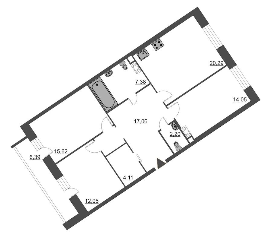 3-комнатная 95 м<sup>2</sup> на 5 этаже